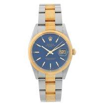 Rolex Oyster Perpetual Date Acero y oro 34mm Azul Sin cifras
