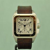 Cartier Santos 100 pre-owned Silver Chronograph Date Crocodile skin