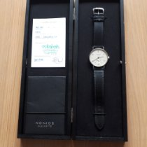 NOMOS Tangente pre-owned 38mm Silver Date Leather