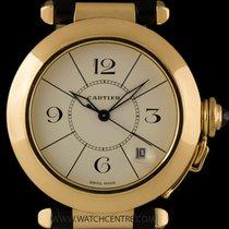 Cartier 18k Yellow Gold Cream Dial Pasha Gents Wristwatch B&P