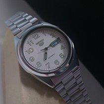 Seiko 5 Steel 38mm White Arabic numerals
