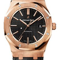 Audemars Piguet Royal Oak Rose Gold Black Dial on Strap...