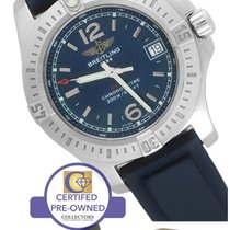 Breitling Colt A77388 Blue 33mm Stainless Rubber Quartz Date...
