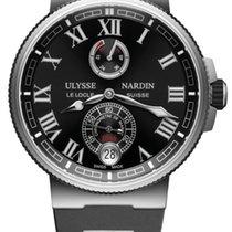 Ulysse Nardin Marine Chronometer Manufacture 1183-126-3 / 42 Ulysse Nardin Marino Pelle Nero Con Titanio new