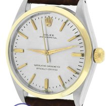 Rolex Oyster Perpetual Silver 34mm 14K Two Tone Gold Steel 1002