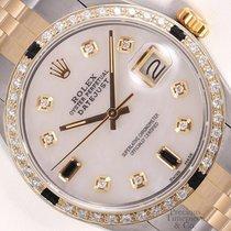 Rolex Datejust 2 Tone Gold/Steel-Black Gems-White MOP Diamond...