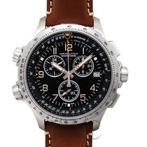 ハミルトン (Hamilton) Khaki Aviation X-Wind Chrono Quartz GMT Black...