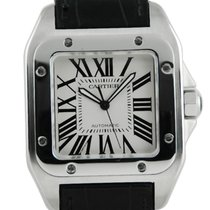 Cartier Santos 100 White Dial Black Leather Strap - 2656