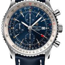 Breitling Navitimer World gebraucht 46mm Blau Chronograph Datum GMT/Zweite Zeitzone Krokodilleder