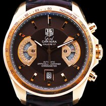 TAG Heuer Or rose Remontage automatique Brun Sans chiffres 43mm occasion Grand Carrera