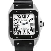 Cartier Santos 100 Stainless Steel Black Rubber Watch W20121u2