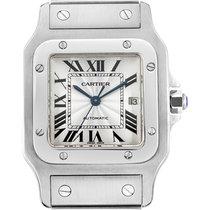 Cartier 29mm Quartz 2000 pre-owned Santos Galbée White