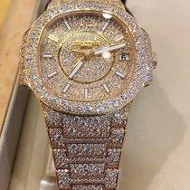 Patek Philippe Nautilus Lady Rose Gold Full Pavé Diamonds -...