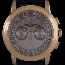 Patek Philippe 18k Rose Gold Silver Arabic Dial Chronograph...