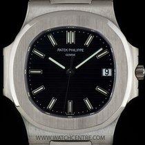 Patek Philippe 18k W/G Black Dial Jumbo Nautilus Gents B&P...