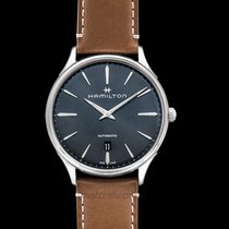 Hamilton Jazzmaster Thinline Auto Grey Steel/Leather 40mm -...