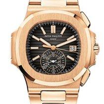 Patek Philippe Nautilus Chronograph Rose Gold Black Dial Watch...