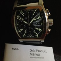 Oris Miles Tonneau pre-owned 41mm Black Chronograph Date Weekday Leather