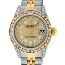 Rolex Datejust SS & 18K Yellow Gold Champagne Diamond Dial