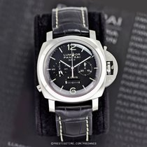Panerai Acero Cuerda manual Negro 44mm nuevo Luminor 1950 8 Days Chrono Monopulsante GMT
