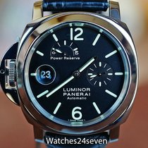 Panerai Luminor Power Reserve pre-owned 44mm Black Date Crocodile skin
