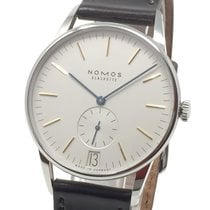 NOMOS Orion Datum pre-owned 38mm Silver Date Leather