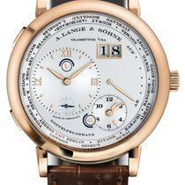 A. Lange & Söhne Lange 1 Time Zone 18K Rose Gold Brown Leather...