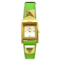 Hermès medor me1.201 vert anis 23 mm quartz en plaque or watch