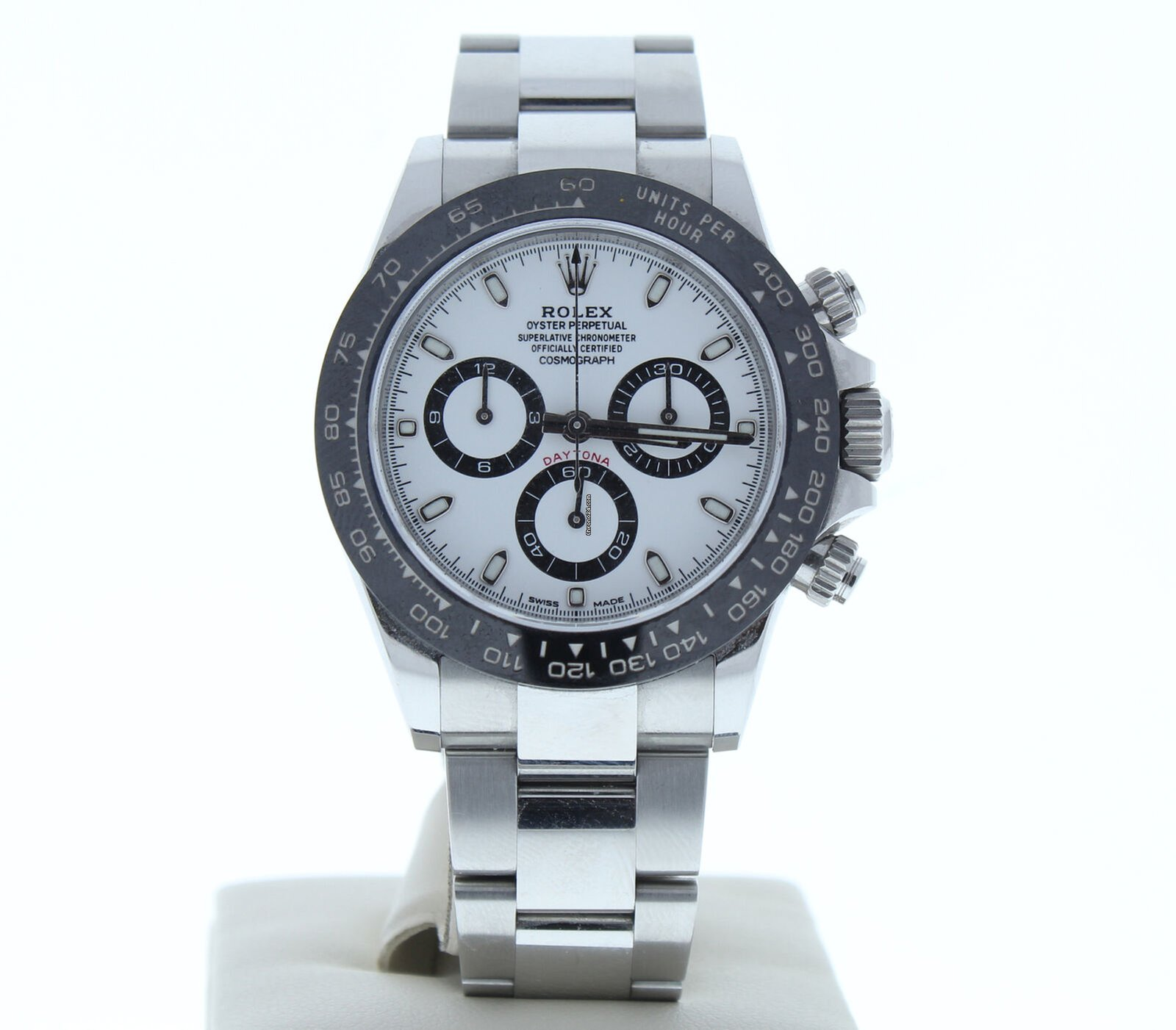 0fdc9bbe72bab Rolex Daytona 116500 Ceramic Bezel Watch Stainless Steel Oyster Band White  Dial