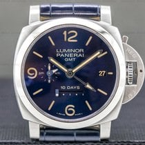 Panerai Luminor 1950 10 Days GMT pre-owned 44mm Blue Date GMT Crocodile skin