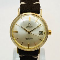 Omega Yellow gold Automatic Silver No numerals 34mm pre-owned Seamaster DeVille