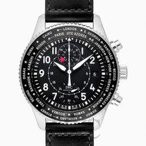 IWC Pilot's Watch Timezoner Chronograph Black Steel/Leathe...