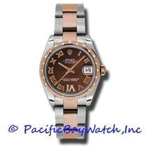Rolex Lady-Datejust Acier 31mm Brun Romains