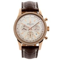 Breitling Transocean Chronograph pre-owned 43mm Silver Chronograph Date Crocodile skin