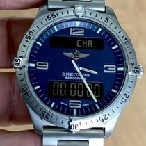 Breitling Aerospace pre-owned 40mm Blue Chronograph Date Weekday Alarm GMT Titanium