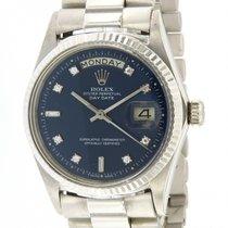 Rolex | Day-Date, 18 kt white gold, Ref. 1803, Diamonds Blue Dial