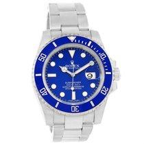 Rolex Submariner 18k White Gold Blue Dial Ceramic Bezel Watch...