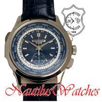 Patek Philippe World Time Chronograph Aur alb 39mm Albastru