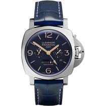 Panerai Luminor 1950 8 Days GMT Titanium 47mm Blue Arabic numerals