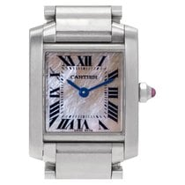Cartier Tank Française pre-owned 20mm Mother of pearl Steel