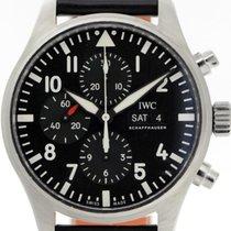 IWC Fliegeruhr Chronograph gebraucht 43mm Schwarz Chronograph Datum Wochentagsanzeige Leder