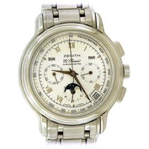 Zenith El Primero Chronomaster pre-owned 40mm Silver Moon phase Chronograph Date Month Steel