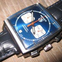 TAG Heuer Monaco gebraucht 38mm Blau Chronograph Datum Krokodilleder