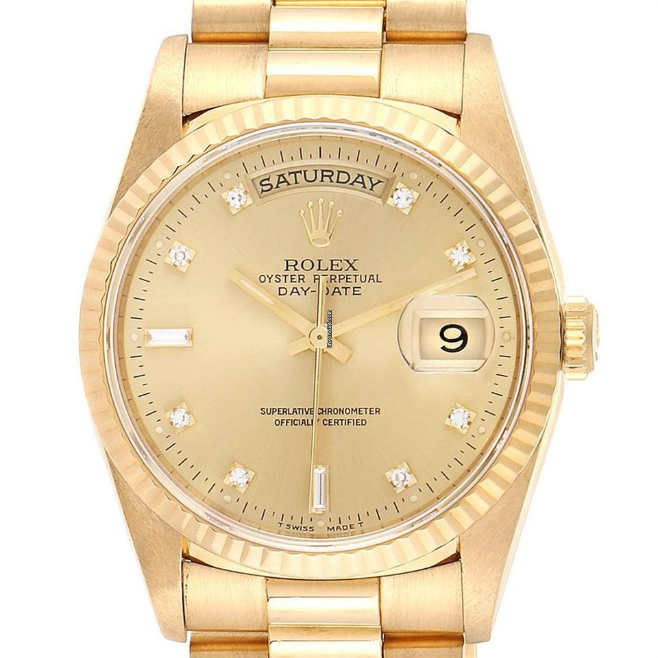 Rolex President Day Date Yellow Gold Diamonds Mens Watch 18238 Box Papers