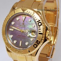 Rolex Midsize Yacht Master 18k Gold Tahitian Mother of Pearl...