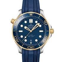 Omega Or jaune Remontage automatique Bleu nouveau Seamaster Diver 300 M