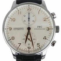IWC Portuguese Chronograph pre-owned 40mm White Chronograph Crocodile skin