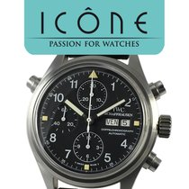 IWC Pilot Double Chronograph Steel 42mm Black Arabic numerals