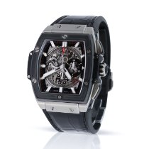 Hublot Spirit of Big Bang pre-owned Transparent Chronograph Date Crocodile skin