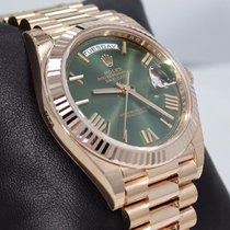 Rolex President 40mm Day-date 228235 18k Rose Gold Green Roman...
